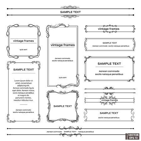 Immagine vettoriale. Set di cornici d'epoca. Pergamene e riccioli, elementi per il design.