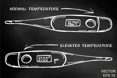 Thermometer on a chalk board. Temperature. body. Cold. For your design.