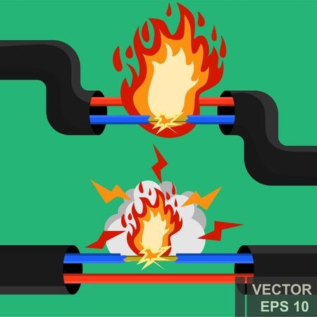 Short circuit. Electricity. The wire. Fire. For your design. Illusztráció