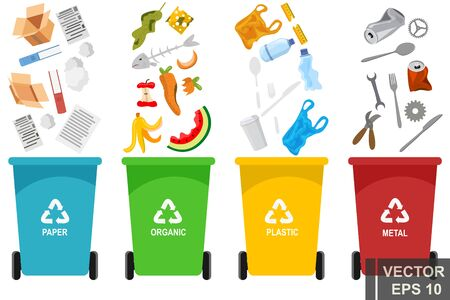 Garbage. Waste. Organics, glass, metal, paper. Disposal For your design.