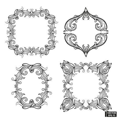 Vector image. Set of frame baroque engraved floral scroll. Black and white victorian border ornament. Filigree vintage calligraphic elements for design. Ilustracja