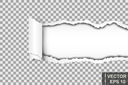 Gescheurd stuk papier. Voor notities. Voor uw ontwerp. Vector Illustratie