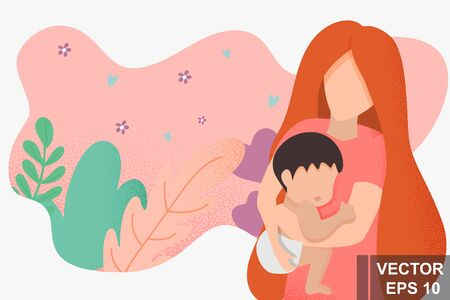 Mom with a baby in her arms. Modern style. For printing on postcards. Mothers Day. Illusztráció
