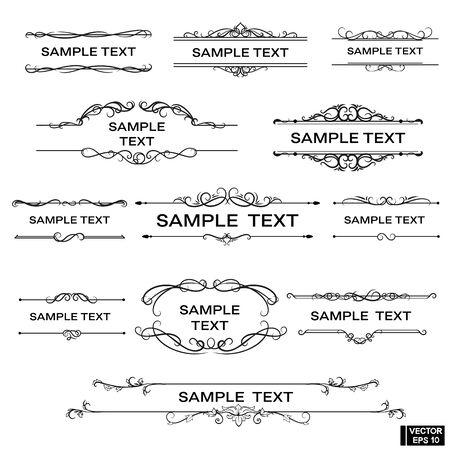 Scrolls and curls, elements for design. Set of vintage frames