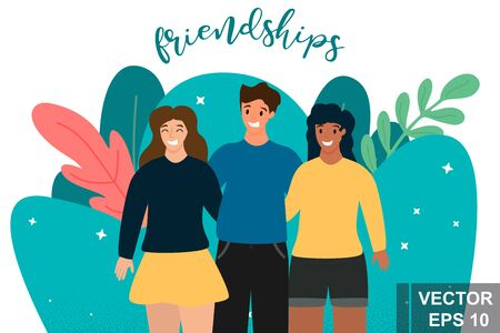 Friendship. Young. Flat style. Concept. For your design.