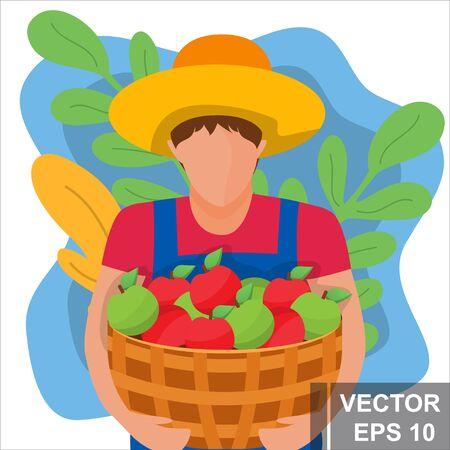 Farmer. Harvesting. Apples For your design. Modern flat style. Illustration