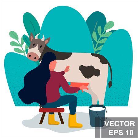Girl milks a cow. Farmer. For your design. Modern flat style.