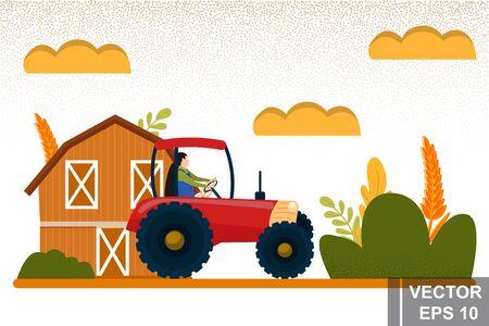 Work on the farm. Harvesting. For your design. Modern flat style. Ilustração