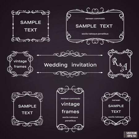 Vector image. Set of vintage frames with floral scrolls and curls. White on black background. Vettoriali