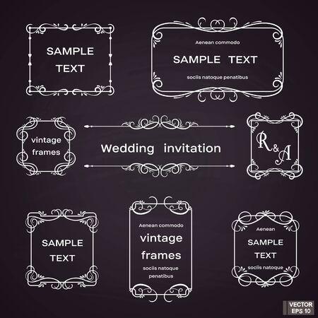 Image vectorielle. Ensemble de cadres vintage avec volutes et boucles florales. Blanc sur fond noir. Vecteurs