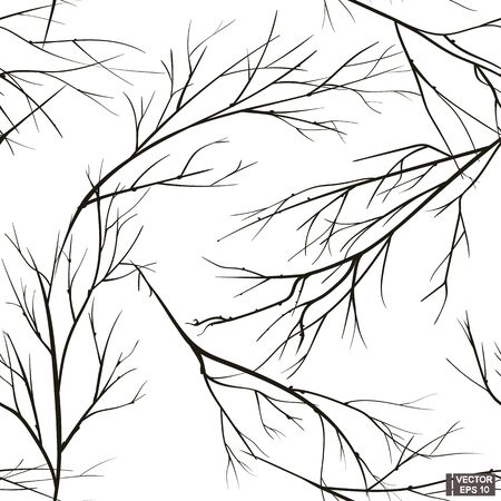 Vector illustration. Black and white branch tree silhouette seamless patterns.