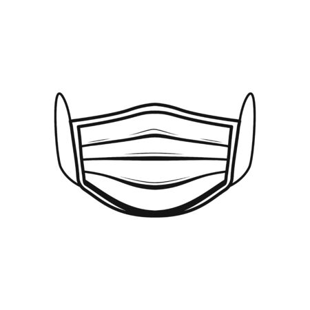 Disposable face mask icon on white back