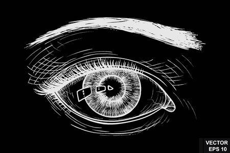 Female eye. On a chalk board. Sketch. For your design.