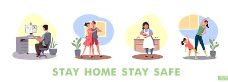 Vector illustration. Set of cartoon characters who cook, dance, work and train at home. The concept of how not to get bored with quarantine. Stay at home. Fun home staying.  イラスト・ベクター素材
