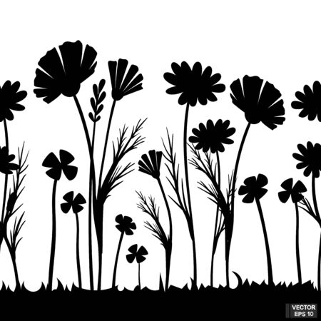 Vector illustration. Horizontal seamless pattern black silhouette flowers. Meadow wild plants element for design.