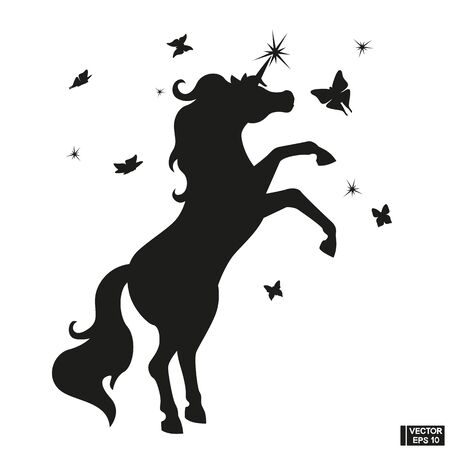 Black Silhouette of a beautiful magical unicorn.