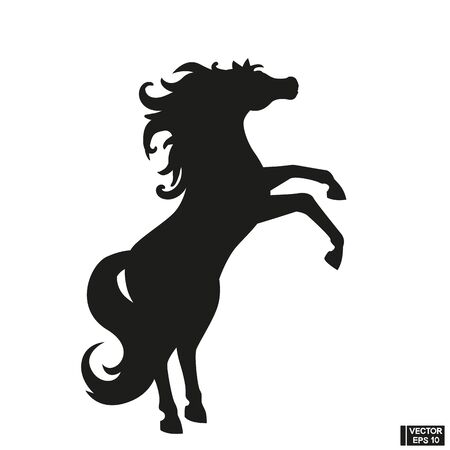 Black beautiful rearing horse fine vector silhouette.