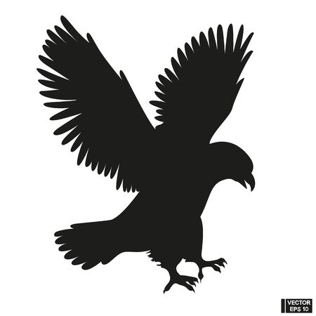 Black Silhouette of a beautiful eagle vector Vectores