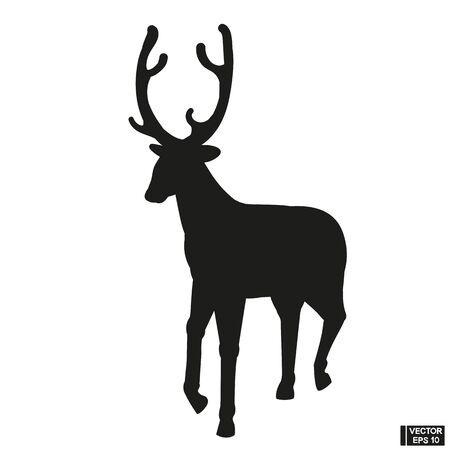 Black Silhouette of a beautiful deer vector