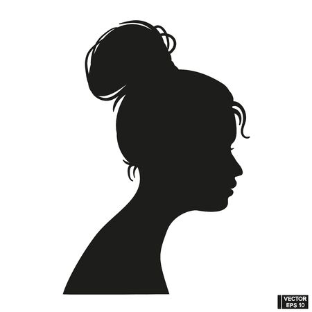 Vector Illustration Icon of Woman head silhouette over white