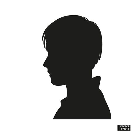 Boy silhouette on a white background. Black face profile in vector Illustration