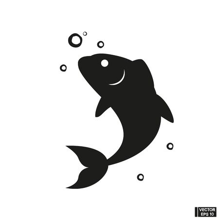 Vector of Black Fish Icon isolated on a white background Illustration
