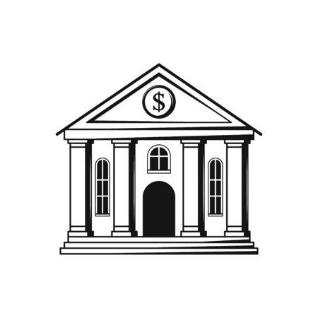 Bank building flat design black icon on white