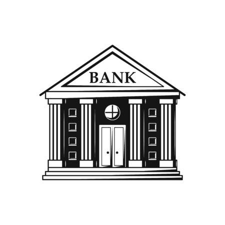 Bank building flat design black icon on white background.