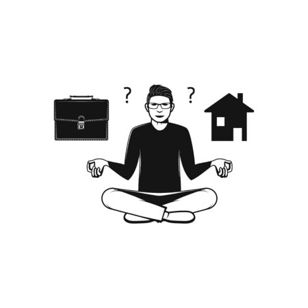 Men doing meditation, stay home or going to work