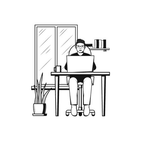 Man at his desk is working on the laptop computer at home. Icon in flat style