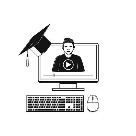 Éducation et étude en ligne. Icône de concept d'apprentissage et de formation Web
