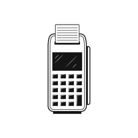 POS Credit Card Terminal Flat Icon On White
