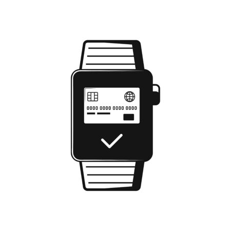 smart watch wearable with apps on screen flat vector icon for apps