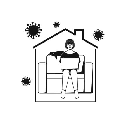 Woman sitting on sofa and working with computer in home. Concept Illustration about Stay at Home for protect virus.