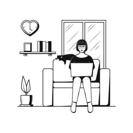 Work From Home Office Freedom Lifestyle Stick Figure Icon