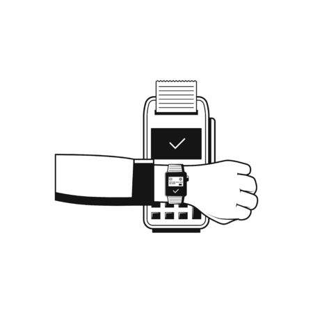 NFC smartwatch linear icon. Payment terminal. concept icon isolated on white