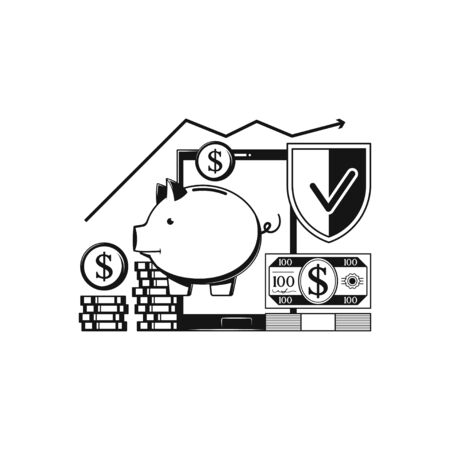 Protected savings, Piggy bank. Concept icon on white Illustration