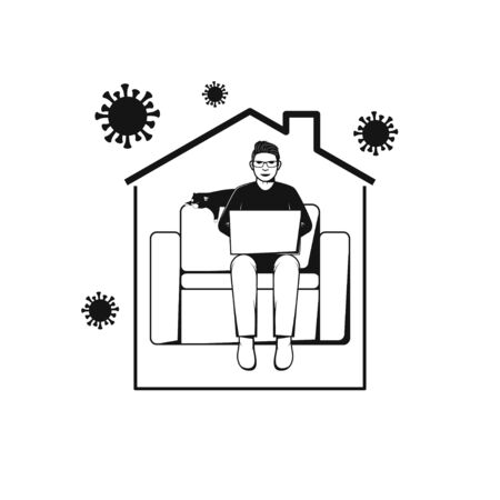 Man sitting on sofa and working with computer in home. Concept Illustration about Stay at Home for protect virus.