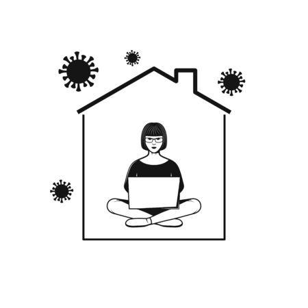 Woman working with computer in home. Stay at Home icon