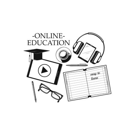 Online education and study. Web learning and training concept icon on white