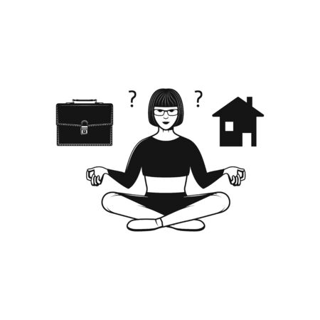 Woman doing meditation, stay home or going to work