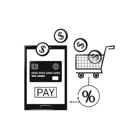 Online shopping with tablet pc shopping cart Business concept icon isolated on white