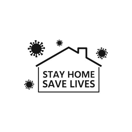 Let's Stop COVID-19, stay home. Icon flat style isolated on white Illustration