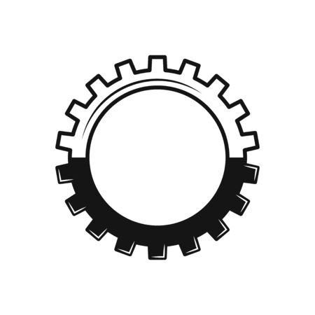 gear icon , flat design isolated on white Illustration