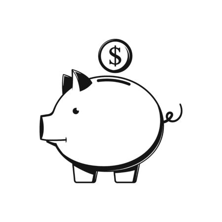 Piggy Bank - Vector illustration icon Symbol flat design black icon on white Illustration