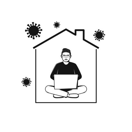 Man working with computer in home. Stay at Home icon