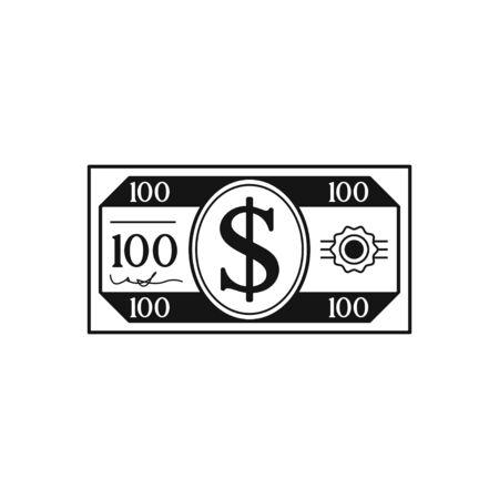 Money Black flat design Icon Isolated on white