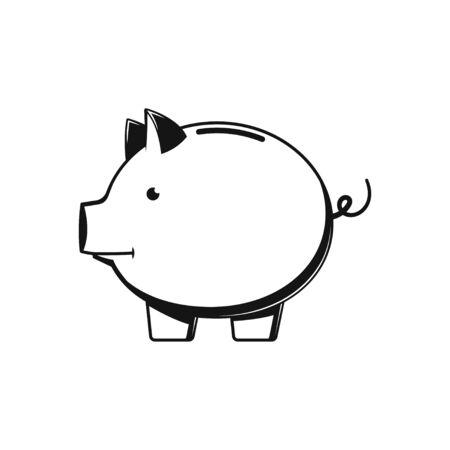Piggy Bank Black flat design Icon Isolated on white Illustration
