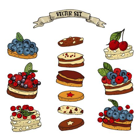 Set with a sweet berry biscuits on a white background. Blueberry, cranberry and elderberry cookies isolated for your design, posters, greeting cards, invitations.