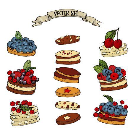 Sertie de biscuits aux baies sucrées sur fond blanc. Biscuits aux myrtilles, aux canneberges et aux baies de sureau isolés pour votre conception, affiches, cartes de voeux, invitations.